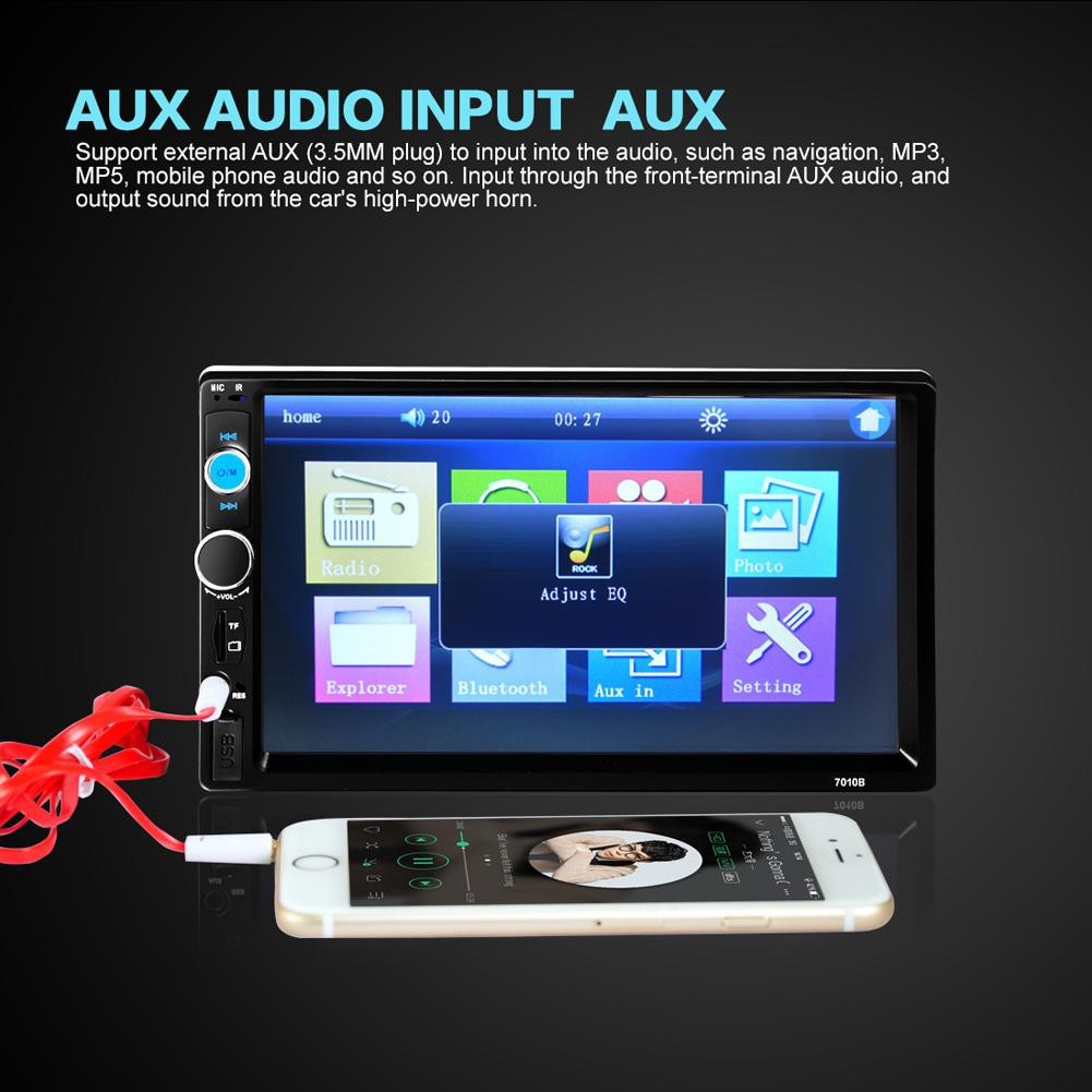 7 inch 2 Din HD Touch Screen+USB Port/TF Card Slot+Aux Input+HD Rear View  Camera