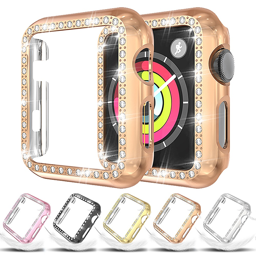 Single Row Diamond Metallic PC for Apple Watch Series 5 44mm Protective Cover 40mm IWatch 4 Screen Watch Case for Apple Watch 3 42mm Case 38mm