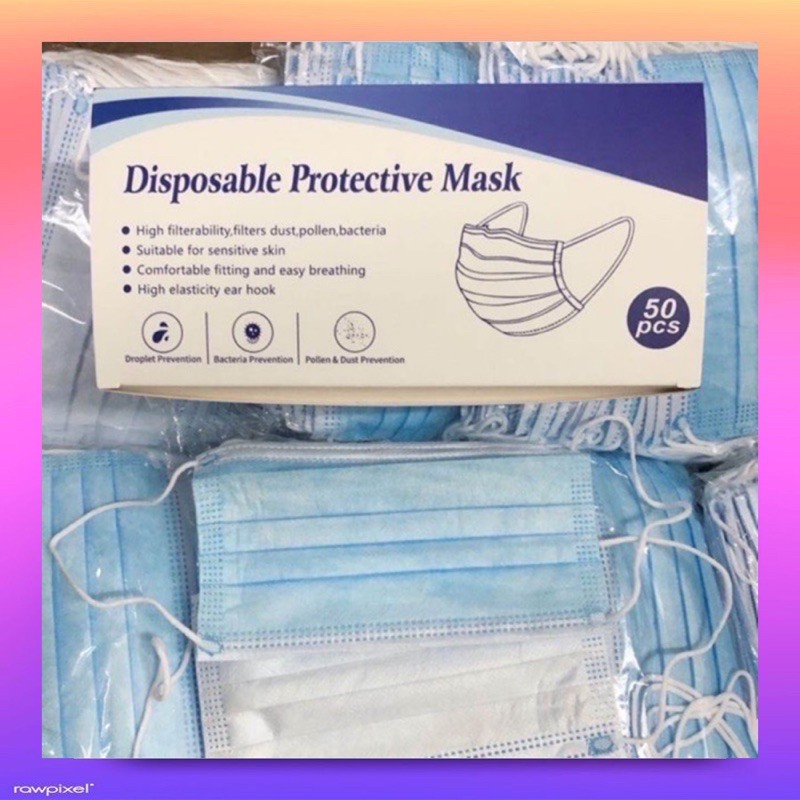 หน้ากากอนามัยผู้ใหญ่ สั่ง 1กล่อง / 50 ชิ้น ป้องกันเชื้อโรค import surgical face mask