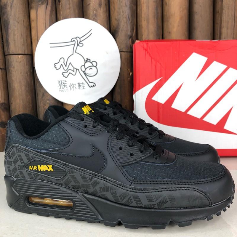 Nike Air Max 90 Essential รุ่นสีดำสีเหลืองสีเหลืองแบบเต็มรองเท้าวิ่งออกกำลังกายสะท้อนแสงเบาะ BQ4685-001