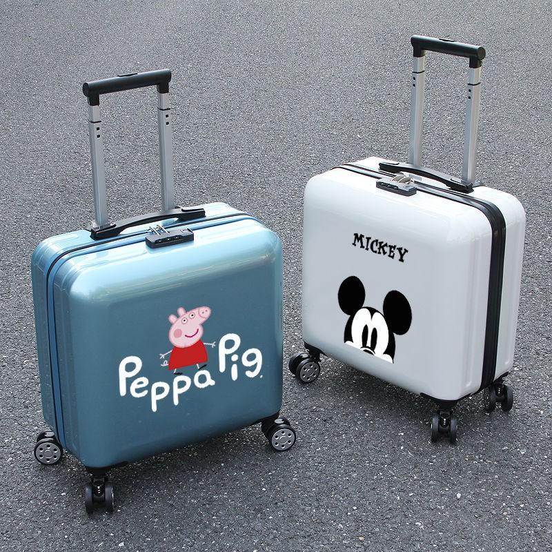 ☈☼﹉รถเข็นการ์ตูนมินิ 18 นิ้ว 16 กระเป๋าเดินทางรหัสผ่านกระเป๋าเดินทางนักเรียนกระเป๋าเดินทางใบเล็กน่ารักสาวเกาหลีรุ่น
