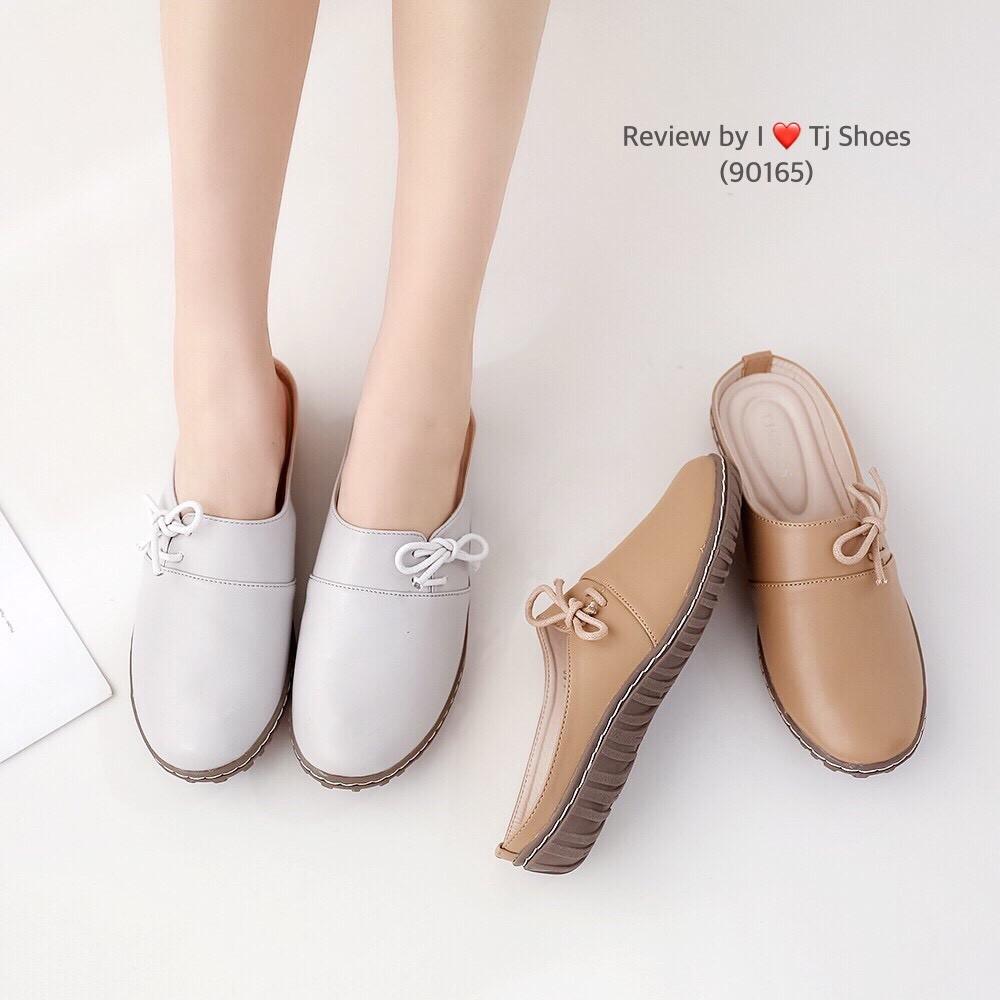 รองเท้าเพื่อสุขภาพผู้หญิง ไซส์36-41 เปิดส้น นุ่มเบาใส่สบาย คัชชู เปิดท้าย หนังนิ่ม น้ำหนักเบา ไซส์พิเศษ Tj Shoes 90165