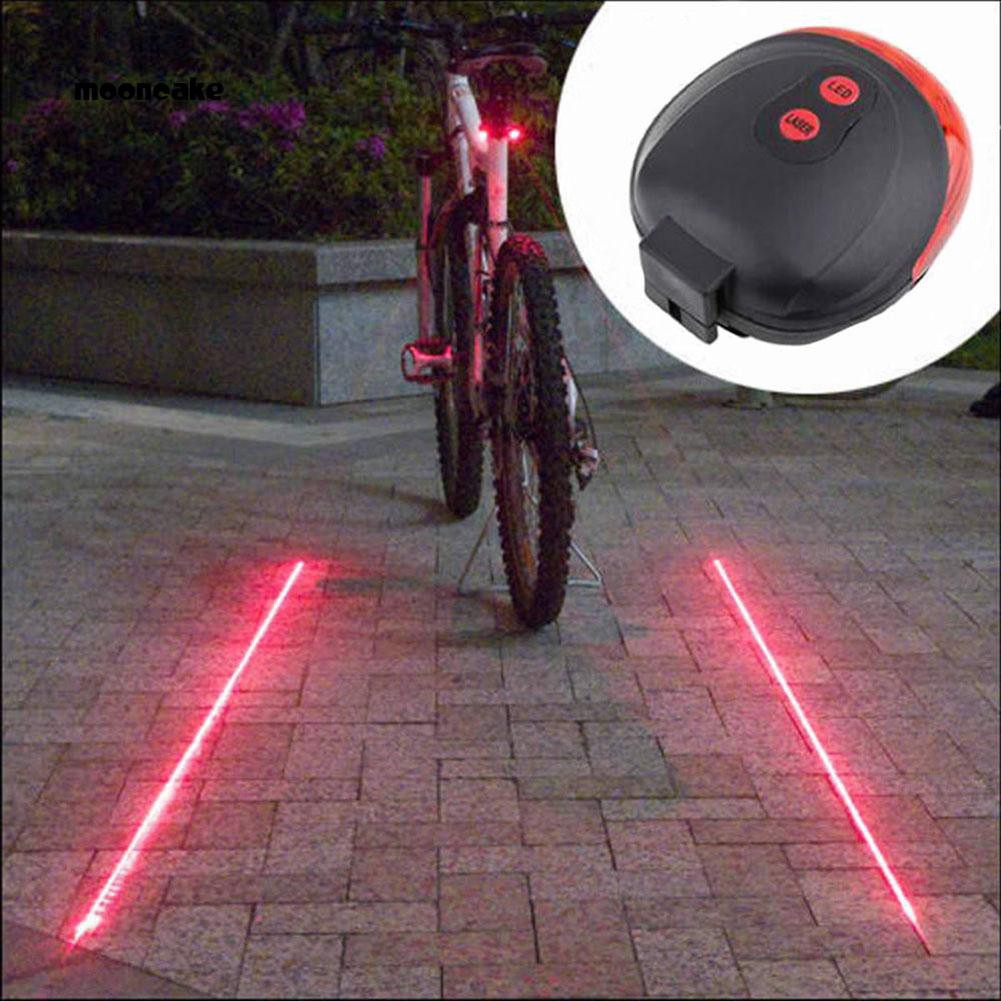 5 LED 2 Laser Bicycle Bike Rear Tail Safety Warning Light Set Waterproof Lamp