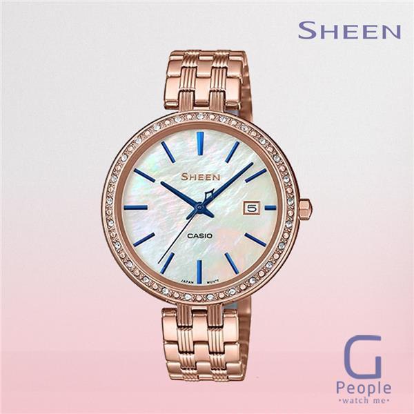 NEW!!!Casio Sheen นาฬิกาข้อมือผู้หญิง สายสแตนเลส รุ่น SHE-4052PG-2A - สีโรสโกลด์ พร้อมส่ง
