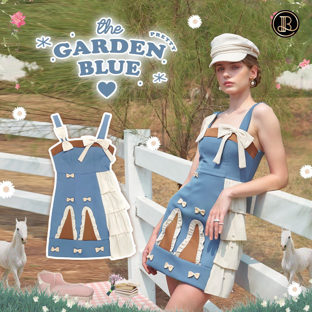 BLT BRAND การันตีเสื้อผ้าแบรนด์แท้ มินิเดรส สายเดี่ยวสีฟ้า รุ่นพิเศษ GARDEN BLUE เหลือ Size XS