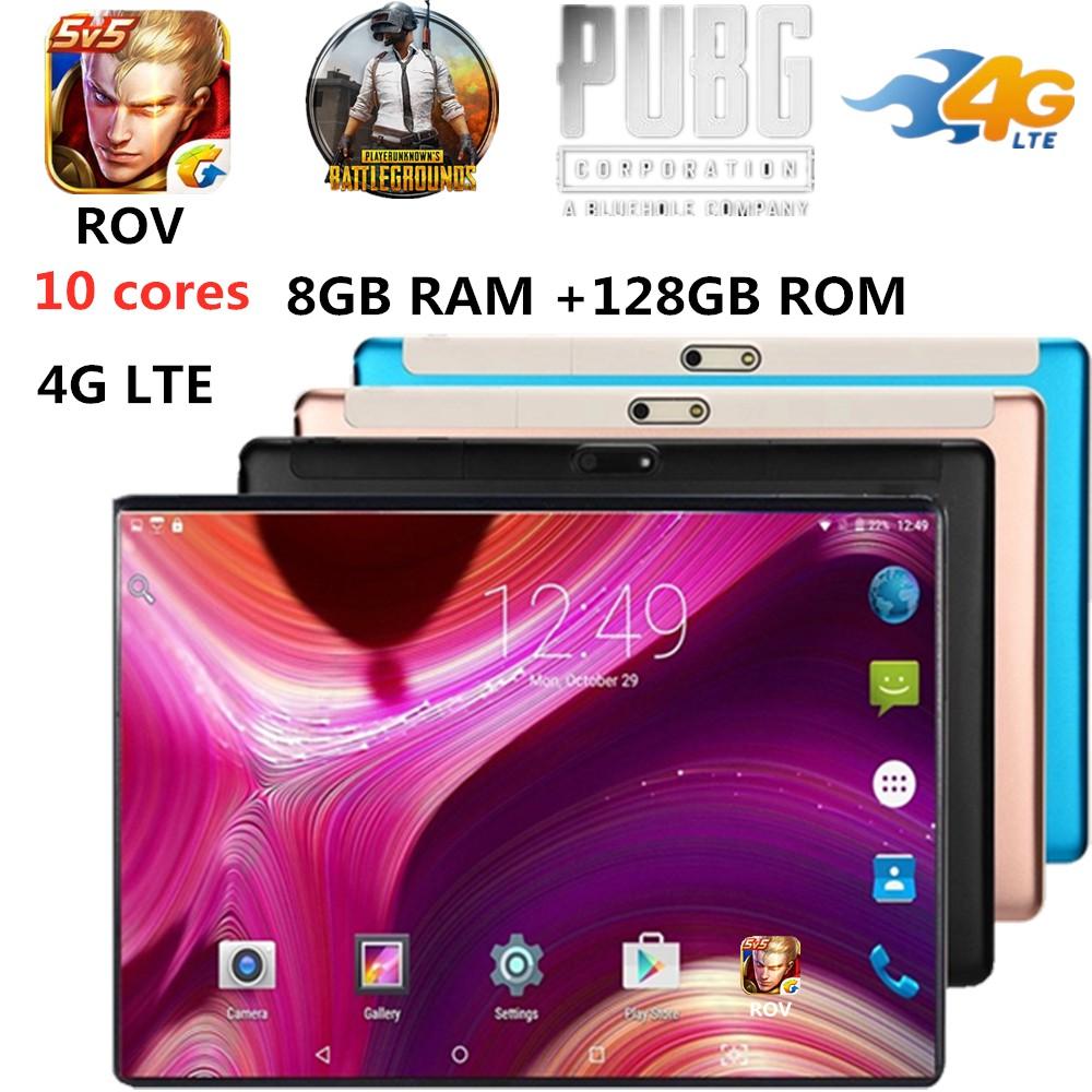 แท็บเล็ตROV&PUBG Android 8 0 Tablet PC 10 Inch 8GB+128GB 10 Cores 2560x1600  WIFI Pad 2 SIM 4G LTE Bluetooth GPS PhoneTab