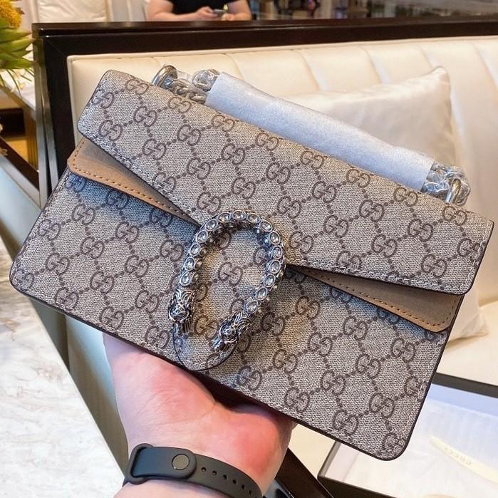 พิเศษร้านค้าใหม่ Gucci Dionysus กระเป๋าหัวเสือคู่หัวเข็มขัดกระเป๋าสะพายขนาดกลางกุชชี่คู่ G กระเป๋าสะพายกระเป๋า Messenger