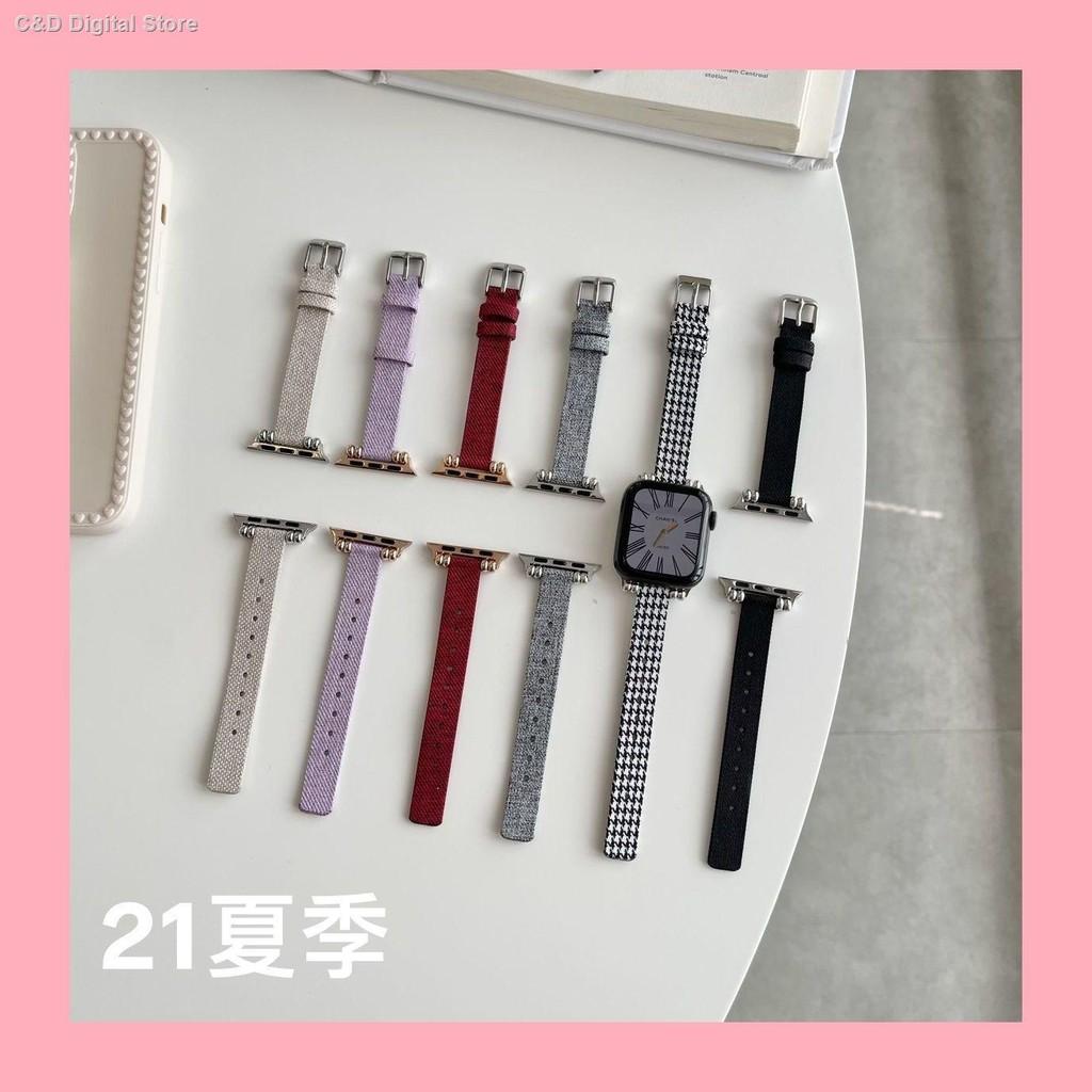 【อุปกรณ์เสริมของ applewatch】❄ใช้ได้กับ Applewatch ผ้าใบเอวเล็กสาย Apple สาย iwatch houndstooth SE6 / 5/4/3/2
