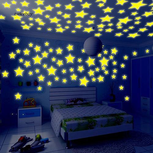 Mix 3D Luminous Wall Sticker Glow In The Dark Star Decal Kids Room Decoration