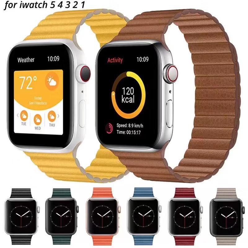 สายนาฬิกาหนังสําหรับ Apple Watch Band Series 1 2 3 4 5