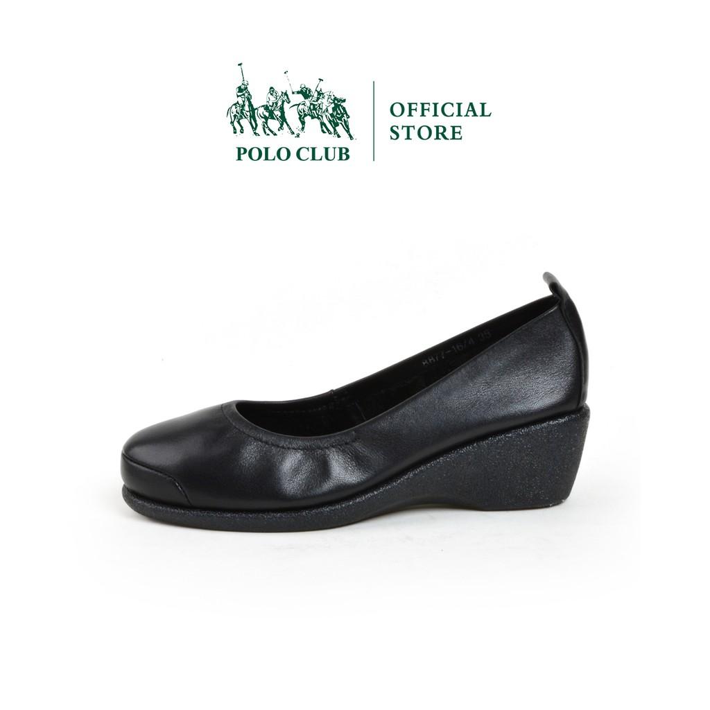 POLO CLUB รองเท้าคัชชูหนัง หัวมน ส้นเตารีด  สีดำ รุ่น P1650