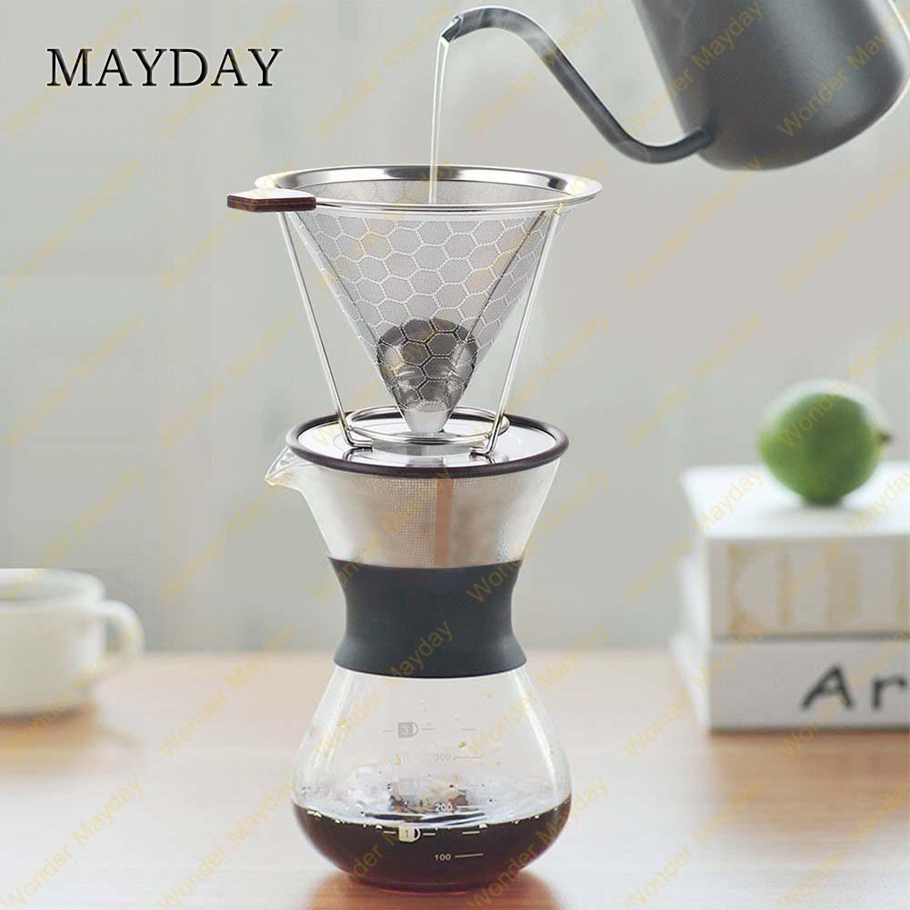 ดริปเปอร์ สแตนเลส กรวยดริปกาแฟ เครื่องดริปกาแฟ ชุด ทำกาแฟดริป 1-4 ถ้วย Stainless Coffee Dripper