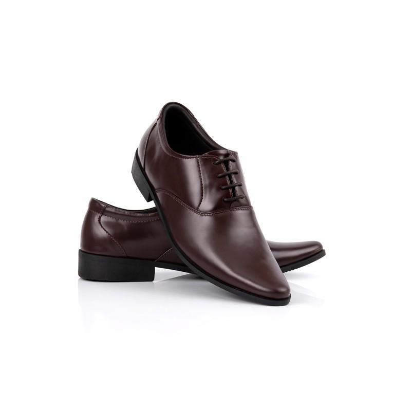 รองเท้าคัชชู หนังแท้ แบบผูกเชือก หัวเรียวแหลม แบบทางการ หุ้มส้น สีน้ำตาล StepPro Oxford Code 237