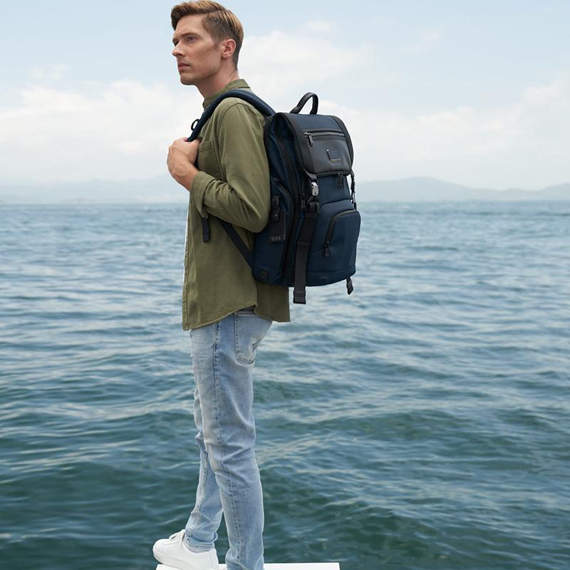 TUMI/tuming Alpha Bravoชุดเดินทางธุรกิจเย็บความจุขนาดใหญ่ออกแบบกระเป๋าเป้สะพายหลังผู้ชาย