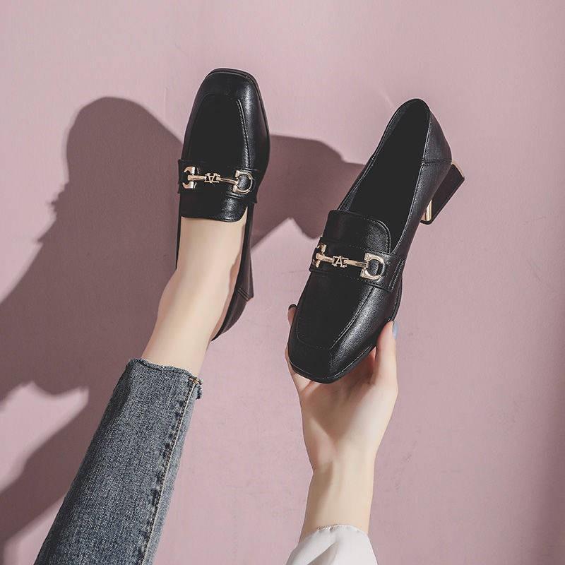 รองเท้าผู้หญิง รองเท้าคัชชู ⚘รองเท้าเด็ก 2021 ใหม่ฤดูใบไม้ผลิรองเท้าหนังขนาดเล็กหญิงอังกฤษแฟชั่น Hi-solled กับ Lefu ทำงา