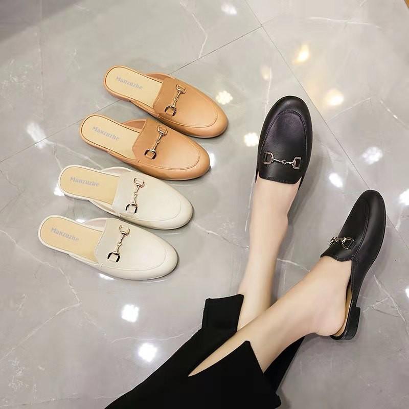 ❤️รองเท้าคัชชู รองเท้าผู้หญิงเปิดส้น รองเท้าหัวแหลม รองเท้าผู้หญิง เปิดส้นเท้า แบบสวม แต่งโซ่ สวยมีสไตล์ นิ่มมาก❤️