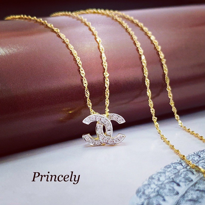 Princely Diamond จี้เพชรCC พร้อมสร้อยคออิตาลี18k