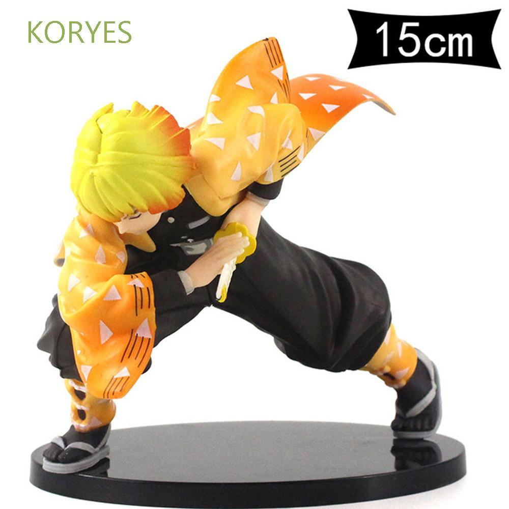 KORYES Demon Blade Figure Model PVC Toy Agatsuma Zenitsu Demon Slayer Toys Doll Gift Action Figure 15cm Japanese Anime Kimetsu no Yaiba