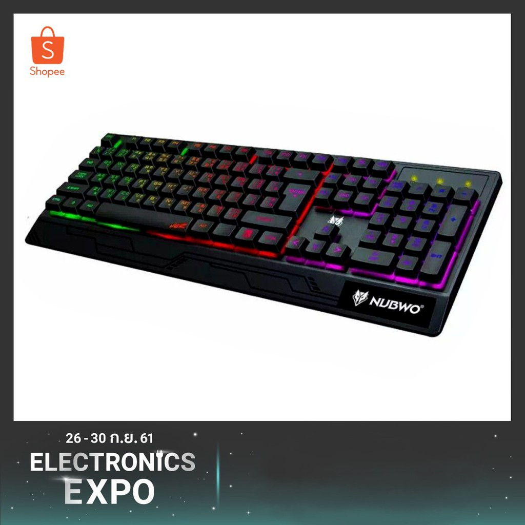 Nubwo คีย์บอร์ด Valoz NK-19 Rubber Dome switch Gaming Keyboard