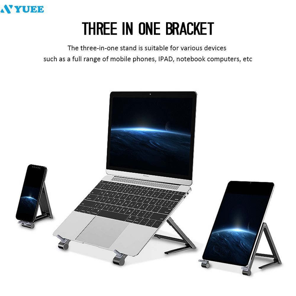 ✔✔ Adjustable Foldable Aluminum Laptop Tablet Stand Portable Desktop Holder 【Yuee】