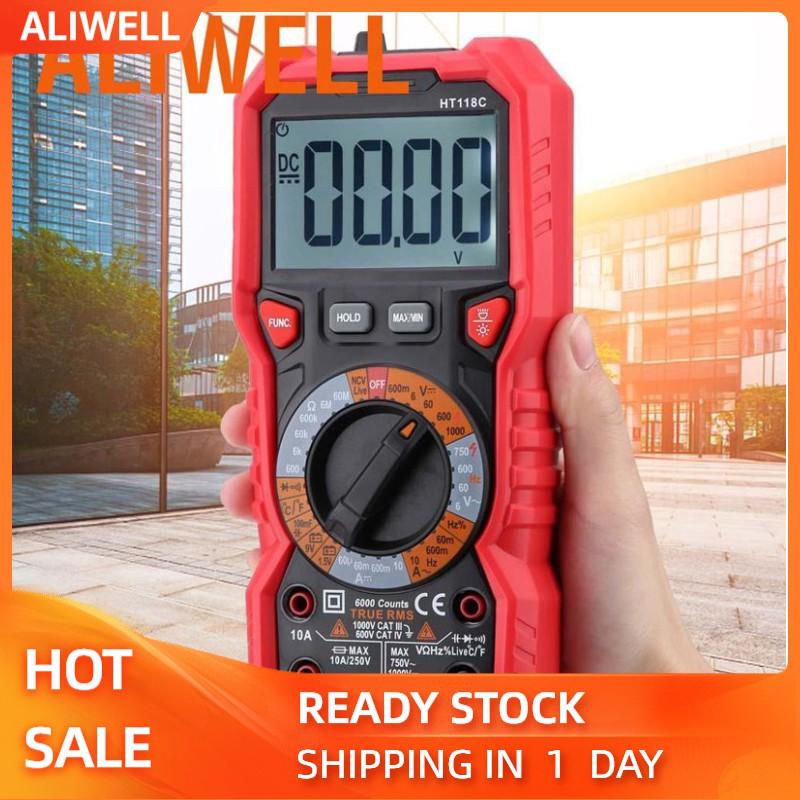 aliwell ht 118 c ดิจิตอล 6000 counts โวลต์มิเตอร์ทดสอบแบตเตอรี่