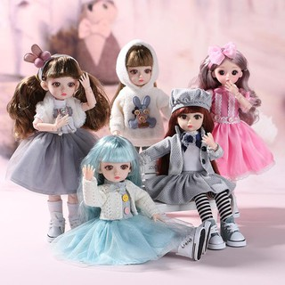 【COD】Princess Barbie ตุ๊กตาทารกLovely 36cm Ball Jointed Doll Body Dress Up Fashion Clothes Set