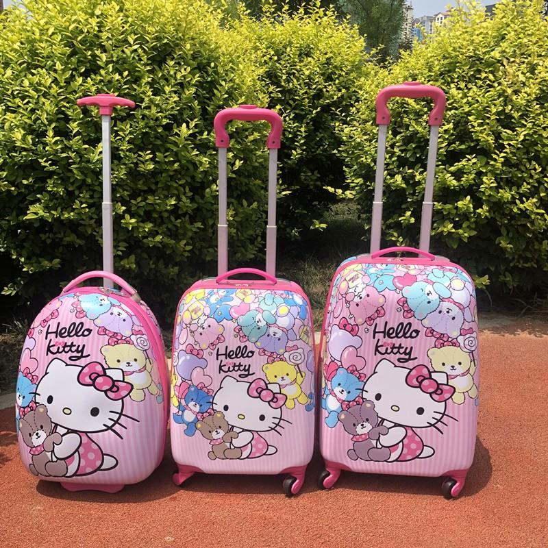 ◑⅙ กระเป๋ารถเข็นเดินทาง กระเป๋าเดินทางพกพา รถเข็นเด็กกระเป๋าเดินทางการ์ตูนเด็กนักเรียนกระเป๋าล้อสากลชายและหญิงกระเป๋าเดิ
