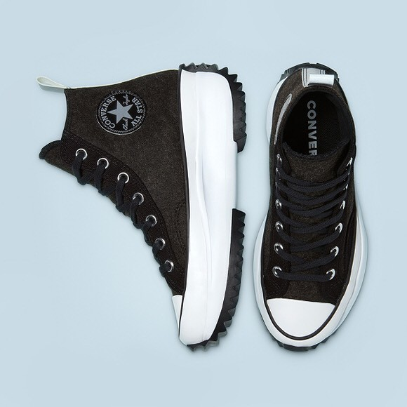 Converse Run Star Hike Hi black platform high-top canvas shoes 169437C