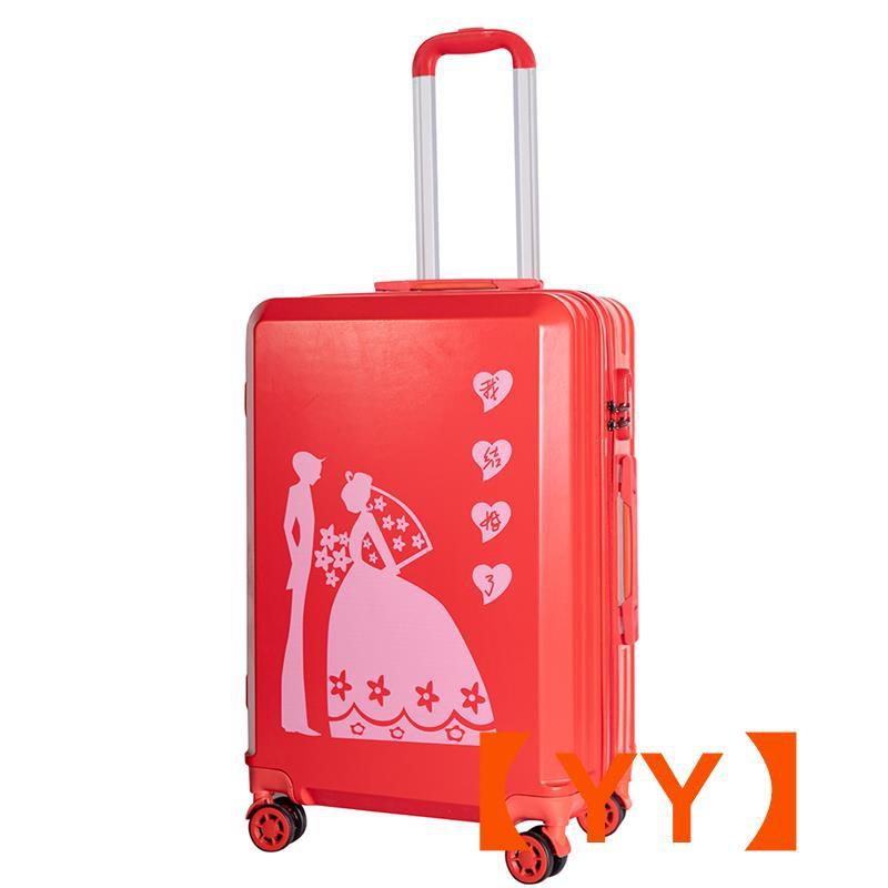กระเป๋าเดินทางขนาด 24 นิ้วสีแดงสําหรับผู้หญิง