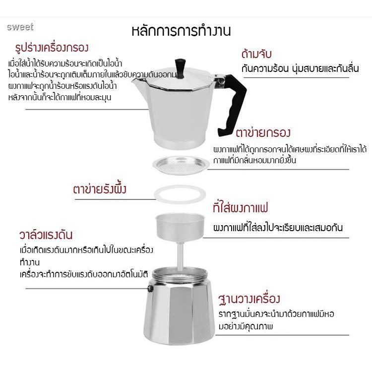 🍒พร้อมส่ง🍒۩✒●moka pot เครื่องชุดทำกาแฟ เครื่องทำกาหม้อต้มกาแฟสด สำหรับ 6 ถ้วย / 300 ml พร้อม เตาอุ่นกาแฟ เตาขนาดพกพา