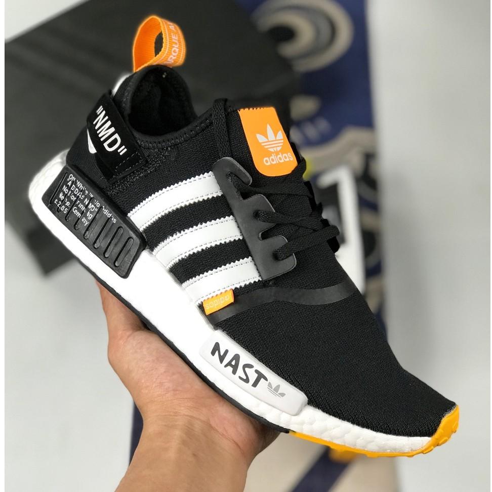OFF WHITE x ADIDAS NMD NAST รองเท้าวิ่งสำหรับผู้ชายผู้หญิงรองเท้ากีฬาวิ่งจ๊อกกิ้งรองเท้าลำลองสีดำสีขาว