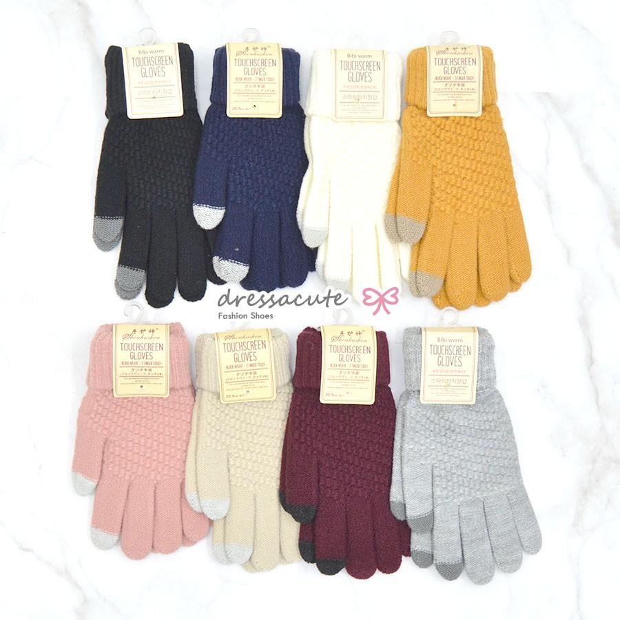 [no.t607] กดมือถือได้ ❤️ (มี 8 สี) ถุงมือกันหนาว ถุงมือไหมพรม ทัชสกรีน สีพื้น ถุงมือแฟชั่น.