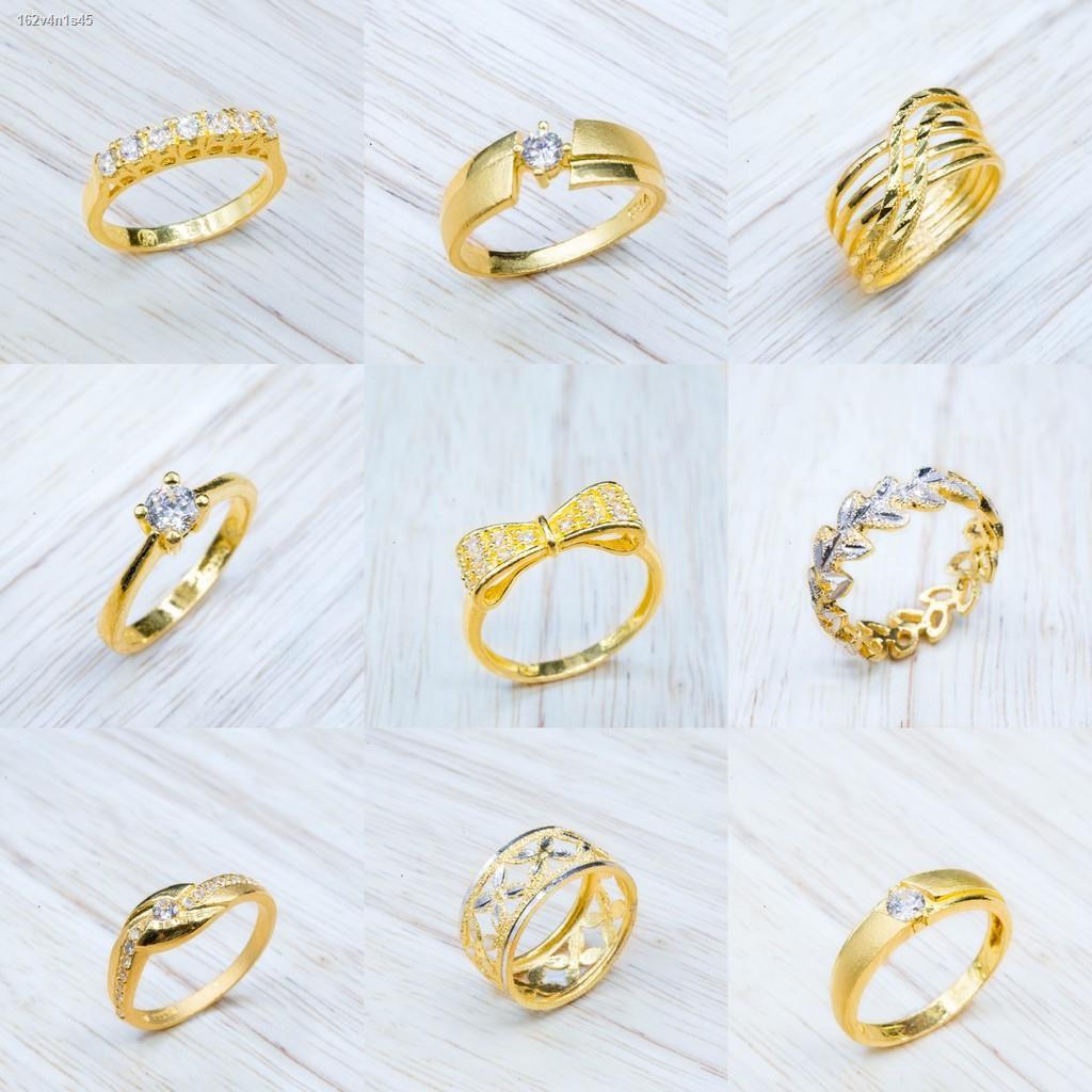 ราคาต่ำสุด☫┇●⭐ แหวนทองแท้  ประดับเพรช CZ น้ำหนัก 1 สลึง [มีให้เลือกหลายลาย]