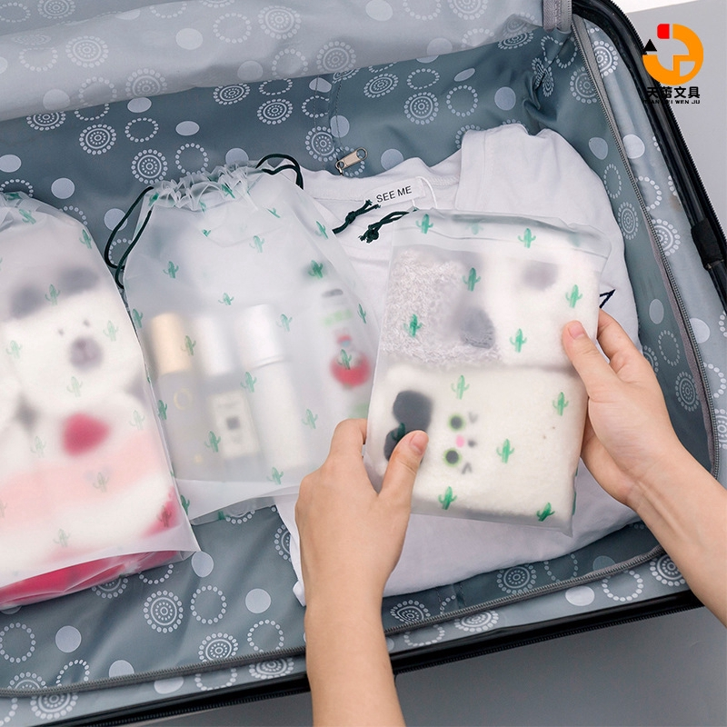 "Sundries storage bag cactus drawstring drawstring bag small fresh transparent frosted waterproof travel storage bag travel clothes storage bag underwear collection bag cosmetic storage bag ""Tianlei Stationery"""