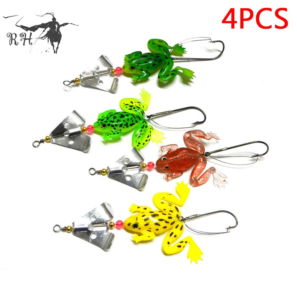 5PCS Topwater Soft Frog Rubber Fishing Lure Crankbait Bait Tackle Bass Hooks New