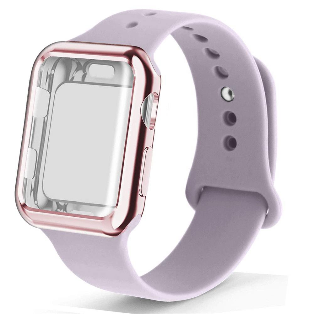 Silicone Strap for Apple Watch Band 44mm 40mm 42mm 38mm Bacelet Watchband Iwatch series 6 se 5 4 3+apple watch case Acce