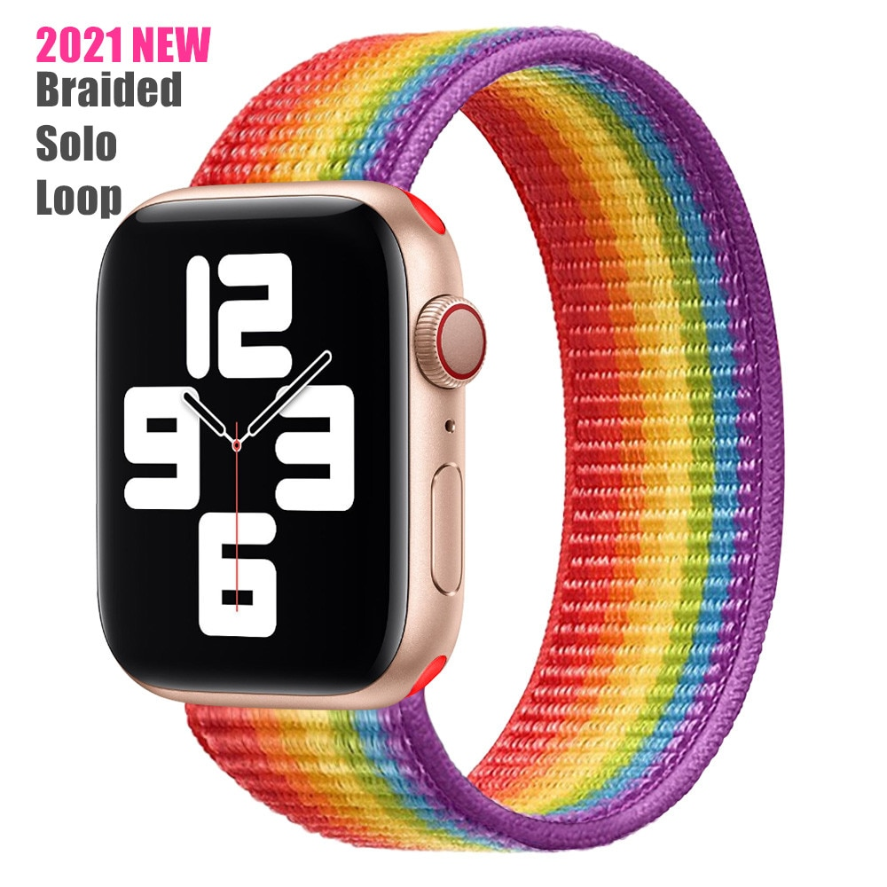 Hot Selling 2021 New Upgrade Braided Solo Loop  Elastic Nylon Straps for Apple Watch Band Series 6/SE/5/4/3/2/1 38/40/42