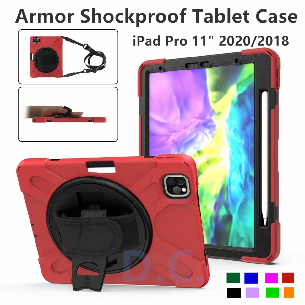 """Premium Shockproof Armor for Apple iPad Pro 11"""" 12.9"""" 10.2"""" 2020 2019 Case with pencil holder shoulder & hand Strap gvCy"""