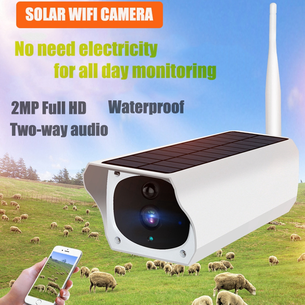 ♞♞ Wireless Solar Outdoor WiFi IP Camera 1080P HD Security Surveillance  Audio 3CD