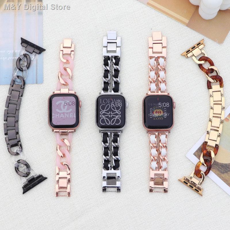 【อุปกรณ์เสริมของ applewatch】❉℡☋ใช้ได้กับ Apple SE นาฬิกา applewatch สาย iwatch6 รุ่นโซ่ยีนส์สายเดี่ยวโซ่กลิ่นหอมสาว
