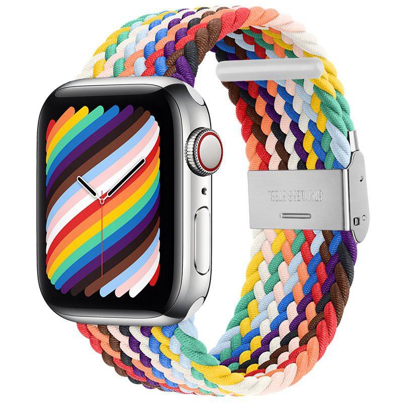 🔥ร้าน X.D🔥 บังคับแอปเปิ้ลนาฬิกาถักไนลอนหัวเข็มขัดทอapplewatchสายiwatch6/5/4/3/2/1กีฬาสายรัดข้อมือไนลอนยืดหยุ่นseriesแฟชั