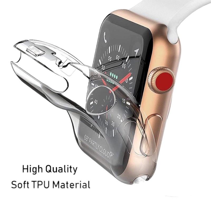 ▨✹✗เคส สำหรับ AppleWatch case ขนาด 38 มม. 40 มม. 42 มม. 44 มม. ซิลิโคนอ่อนนุ่มหุ้มใสสำหรับ iWatchSeries 6/5/4/3/2/1