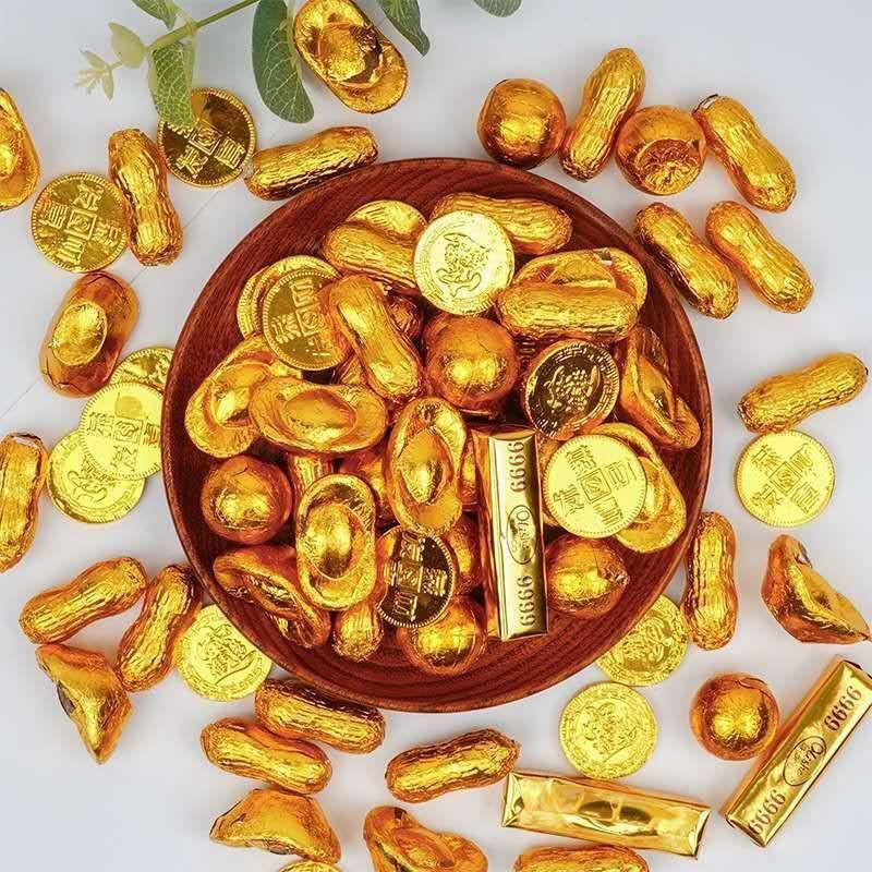❁【 อร่อยและราคาไม่แพง] เหรียญทอง, ทองคำแท่ง, แท่งทองคำ, ตกแต่งเค้กช็อคโกแลต, ขนมเด็กผสม, ลูกอม