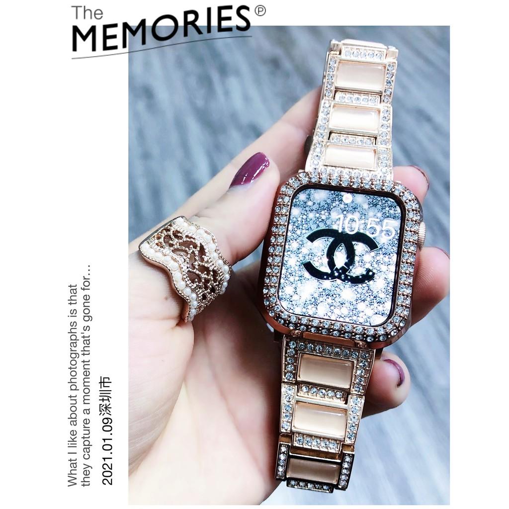 Apple Watch Strap + Case  i watch strap Diamond Stainless Steel Gemstone Watchband Apple watch series 6 5 4 3 2 1,  Apple Watch SE Case Bracelet size 38mm 40mm 42mm 44mm