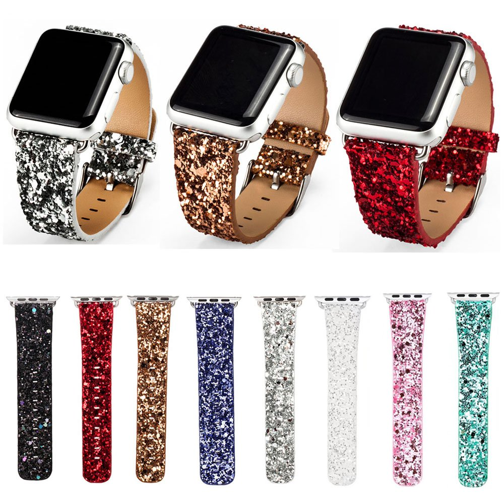 Bling Christmas Shiny Glitter PU Leather Band for Apple Watch Series 5 4 3 2 1 Strap Belt for iWatch 38 40mm 42 44mm Wat