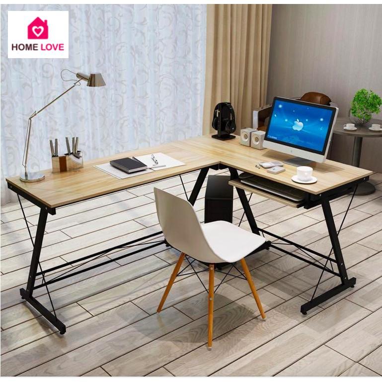 ☋❍🔥12.12 Super Sale🔥HomePro+ โต๊ะทำงานไม้ เข้ามุม รูปตัว L ที่วางคีย์บอร์ด 110-120x48x73CM โต๊ะคอม โต๊ะไม้ โต๊ะทำงาน