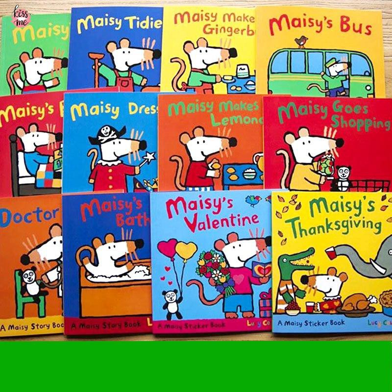 12 Books นิทานภาษาอังกฤษ หนังสือภาษาอังกฤษสำหรับเด็ก Maisy Swim Bag Wave Mice Mouse English Picture Books Sticker Books