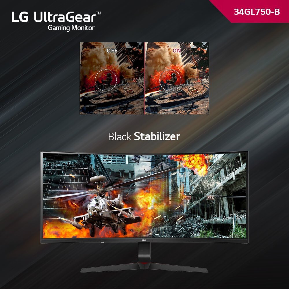 LG 34GL750-B 34 inch 21: 9 UltraGear Curved IPS 144Hz G-SYNC Compatible Gaming Monitor