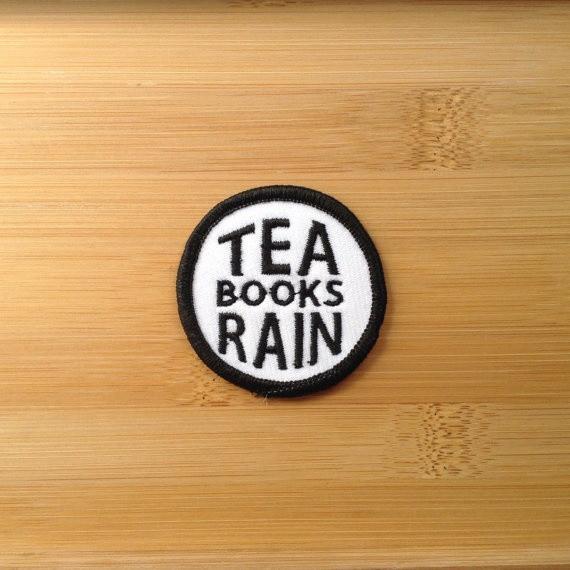 Tea Books Rain Patch Embroidered Circle Applique Hat Bag