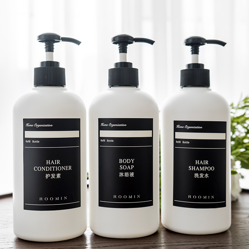ขวด ikeaRoominSubbottle โลชั่นสีดำและสีขาวกดขวดฉลากกันน้ำแชมพูเจลอาบน้ำน้ำยาล้างจาน subpackage 21Wn